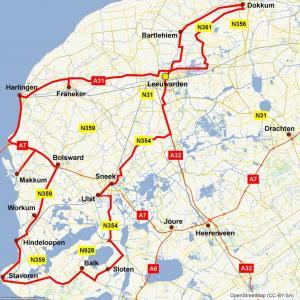 Routekaartje Friesland